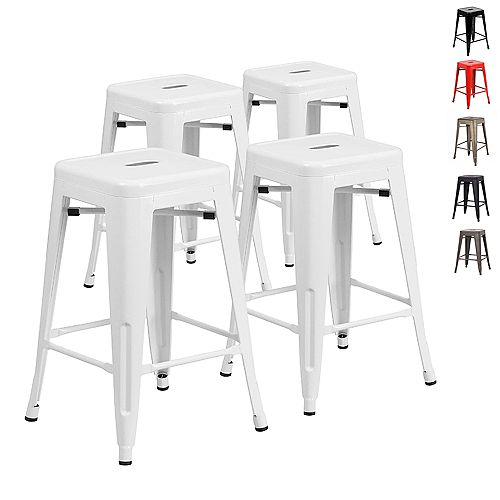 24 inch Counter Height Industrial Metal Bar Stool, Backless, Glossy White - Set of 4