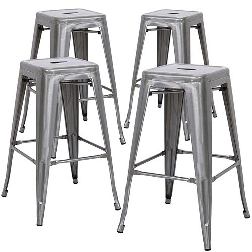 24 inch Counter Height Industrial Metal Bar Stool, Backless, Polished Gun Metal - Set of 4