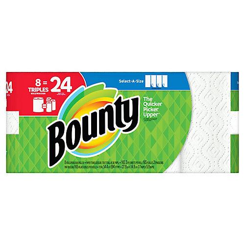 Essuie-tout Bounty Sur mesure, blanc, 8 rouleaux triples = 24 rouleaux réguliers