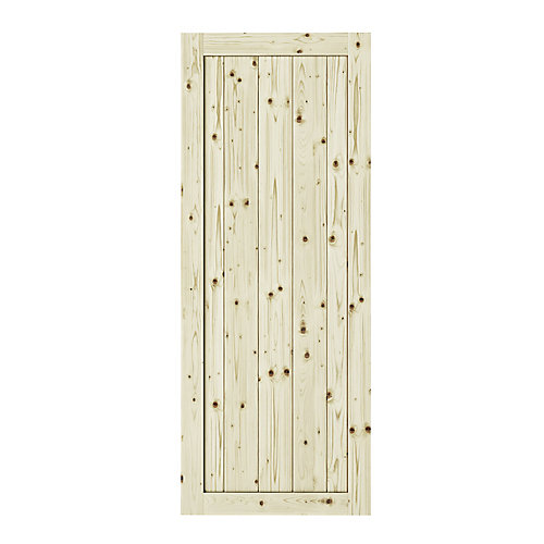 18 inch X 84 inch Rustic 1 Panel Unfinished Knotty Pine  Interior Door Slab
