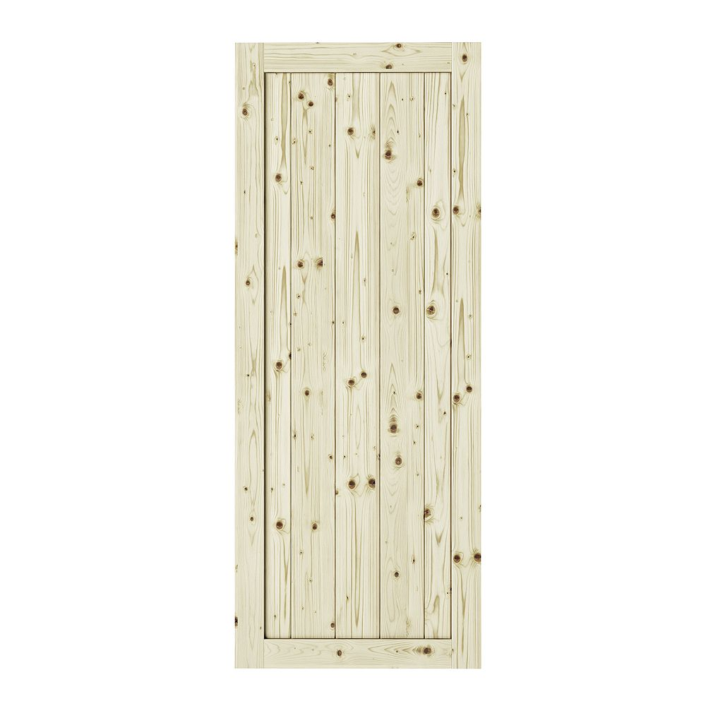 Colonial Elegance 26 inch X 84 inch Rustic1 Panel Unfinished Knotty Pine  Interior Door Slab