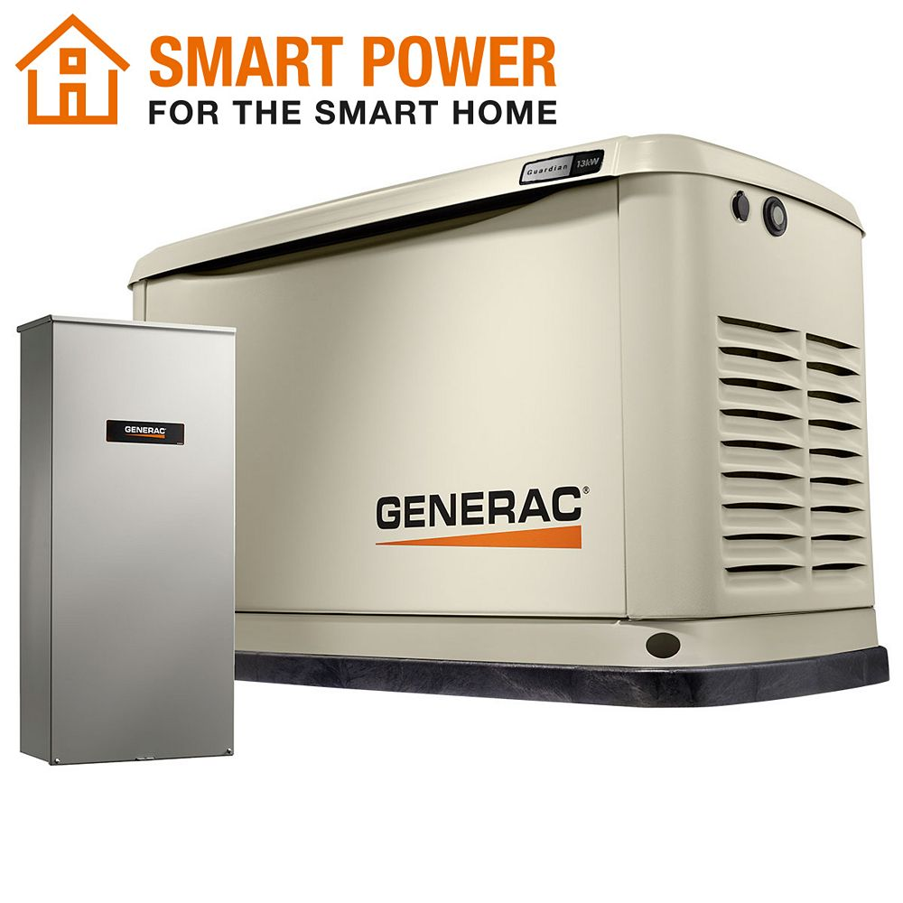 Generac Guardian 13kW Home Backup Generator with 16-Circuit Transfer Switch Wi-Fi-Enabled