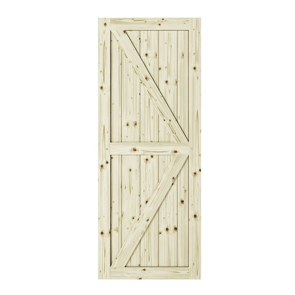 Colonial Elegance 42 inch X 84 inch Artistan K Brace Unfinished Knotty Pine Interior Barn Door Slab