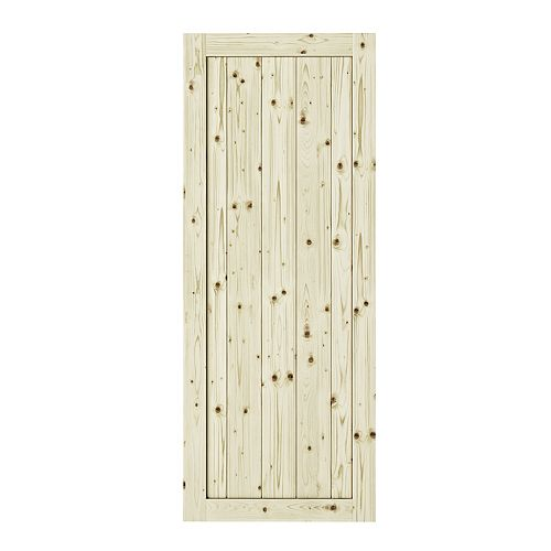42 inch X 84 inch Rustic1 Panel Unfinished Knotty Pine  Interior Door Slab