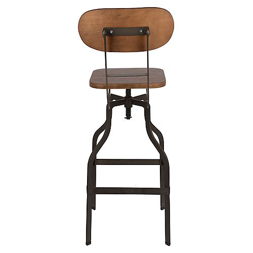 Swivel Adjustable Height Metal Bar Stool with Bamboo Seat and Mid-Backrest - 1 Unit