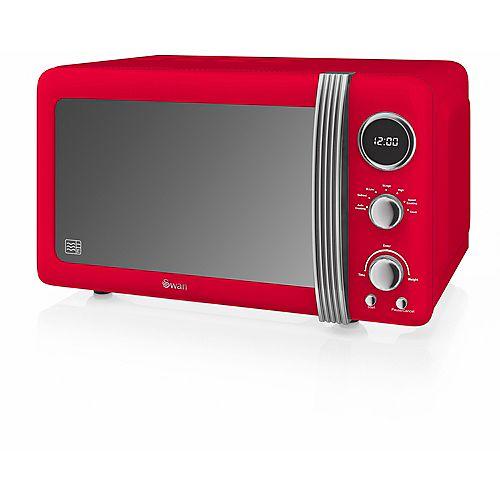 Four à micro-ondes rétro, 700 W, rouge