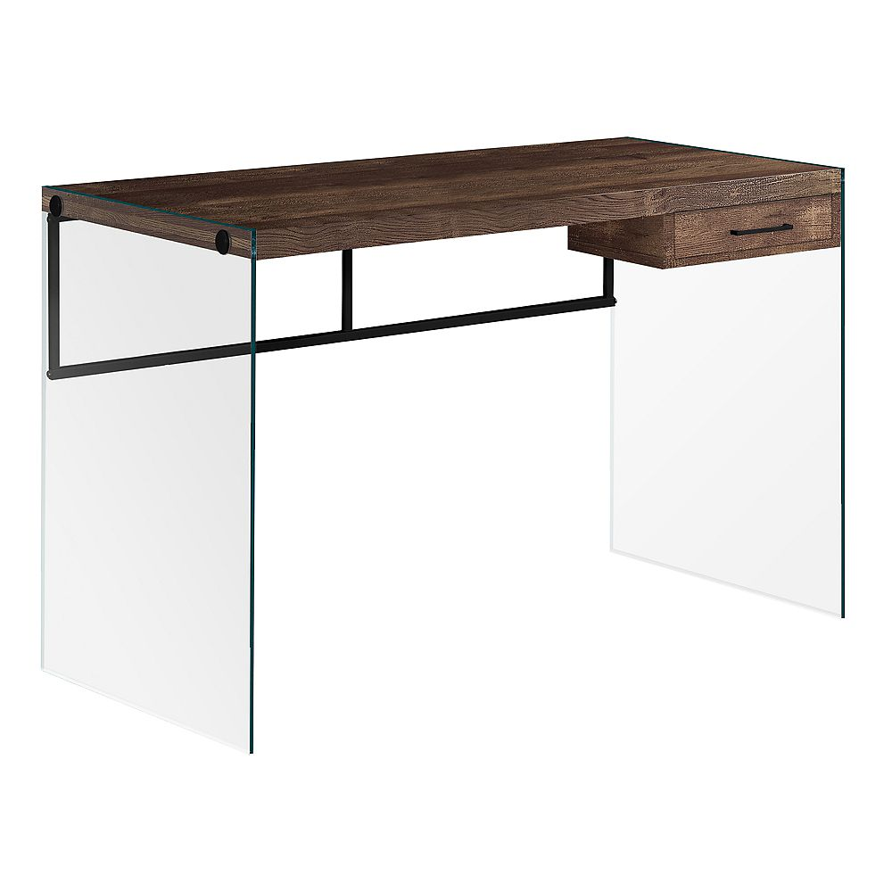 Monarch Specialties Computer Desk - 48 Inch L / Brown Reclaimed Wood/ Glass Panels