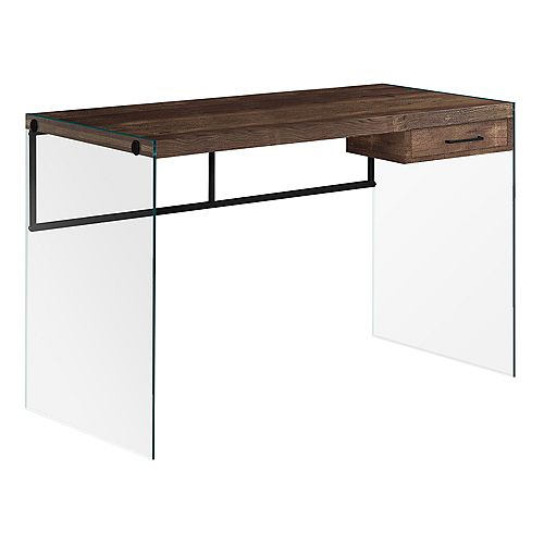 Computer Desk - 48 Inch L / Brown Reclaimed Wood/ Glass Panels