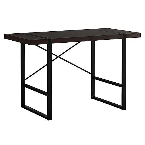 Computer Desk - 48 Inch L / Cappuccino / Black Metal