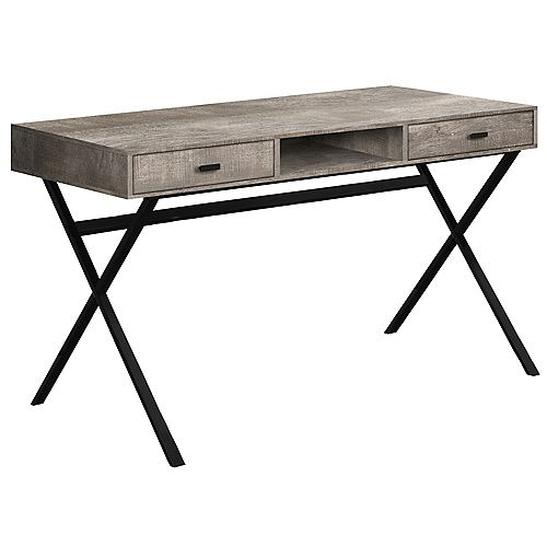Computer Desk - 48 Inch L / Taupe Reclaimed Wood / Black Metal