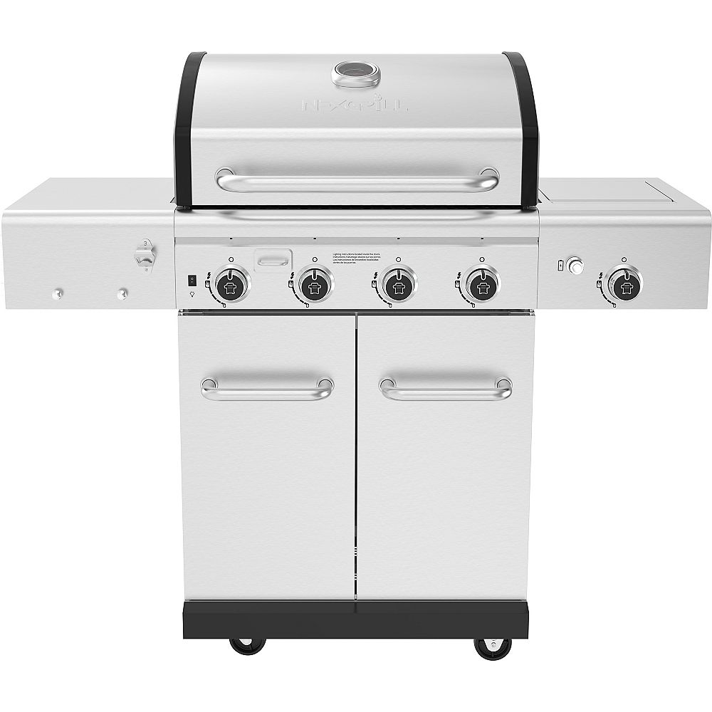 NexGrill Revelry 4-Burner Propane Gas Grill in Stainless Steel with Side Burner and Smoker Box