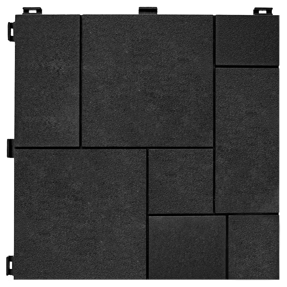Multy Home 12-inch x 12-inch Mosaic Rubber Deck Tile Slate (6-Pack)