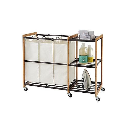 TRINITY EcoStorage Wheeled 3-Bag Bamboo Laundry Station in Bronze