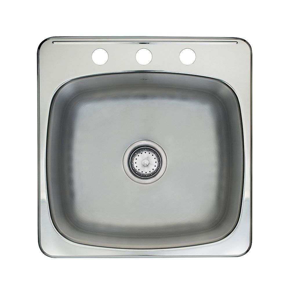 Kindred Drop-In Stainless Steel 20-inch 3-Hole Single Bowl Kitchen Sink with EZ Torque Installation System