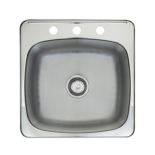 Drop-In Stainless Steel 20-inch 3-Hole Single Bowl Kitchen Sink with EZ Torque Installation System