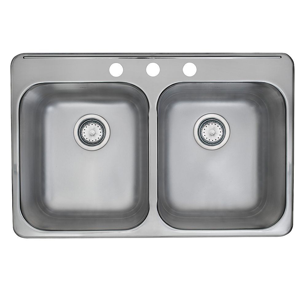 Kindred Drop-In Stainless Steel 31.25-inch 3-Hole Double Bowl Kitchen Sink with EZ Torque Installation