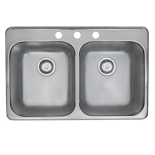 Drop-In Stainless Steel 31.25-inch 3-Hole Double Bowl Kitchen Sink with EZ Torque Installation