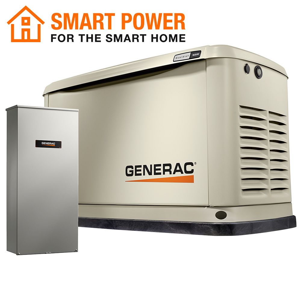 Generac Guardian 16kW Home Backup Generator with 16-Circuit Transfer Switch Wi-Fi-Enable