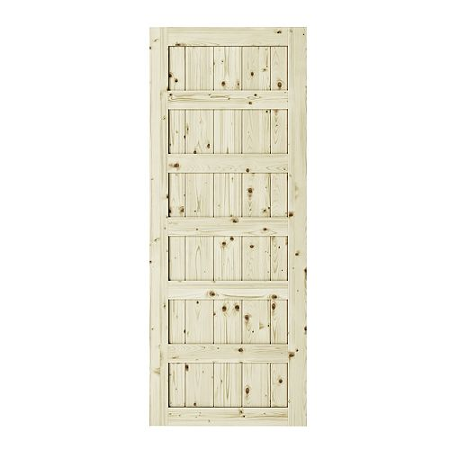 Colonial Elegance 37 inch x 84 inch x1 3/8 inchShaker 6 Panel Unfinished Pine Interior Barn Door Slab