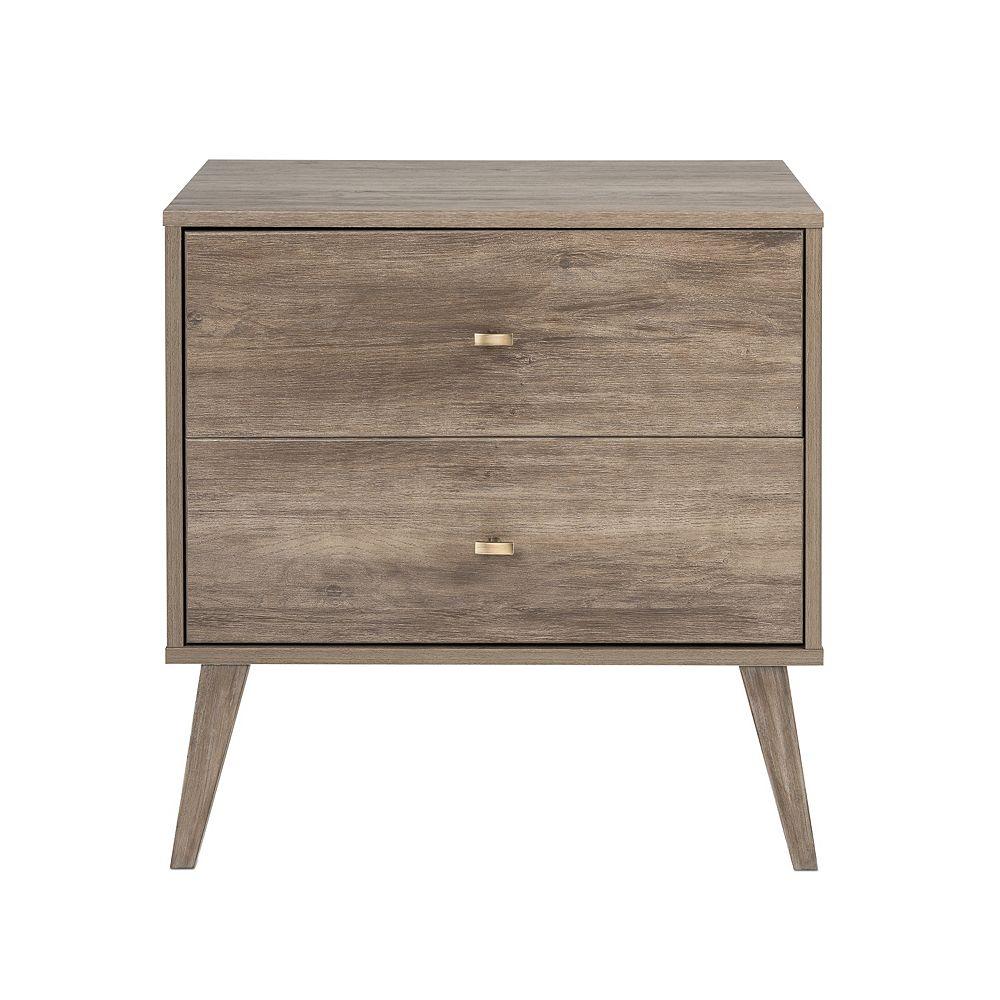 Prepac Milo 2-drawer Nightstand, Drifted Gray