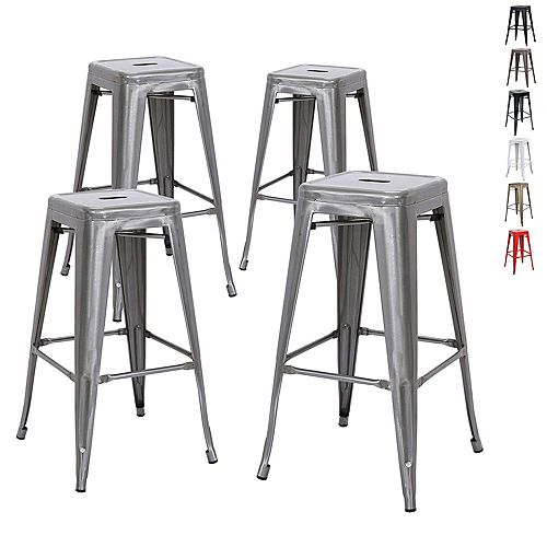 "30"" Bar Height Industrial Tolix Metal Bar Stool, Backless, Polished Gunmetal - Set of 4"