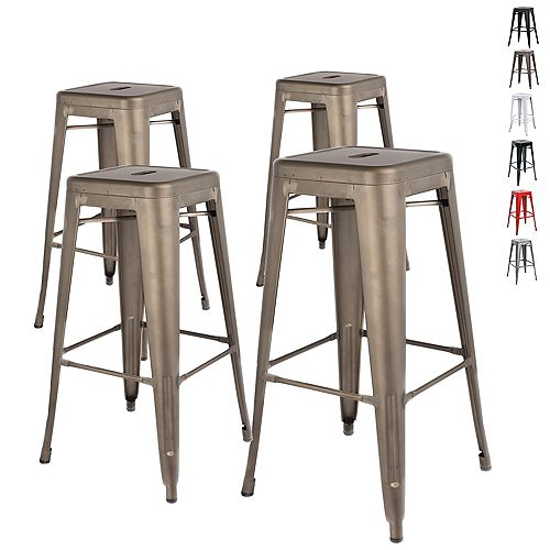 "30"" Bar Height Industrial Tolix Metal Bar Stool, Backless, Gun Metal - Set of 4"
