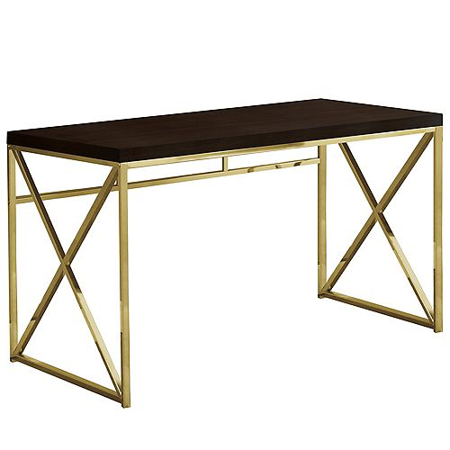 Monarch Specialties Computer Desk - 48 Inch L / Cappuccino / Gold Metal