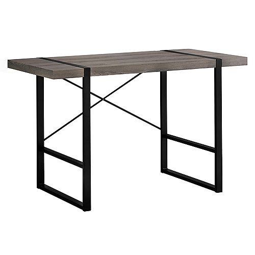 Computer Desk - 48 Inch L / Dark Taupe / Black Metal