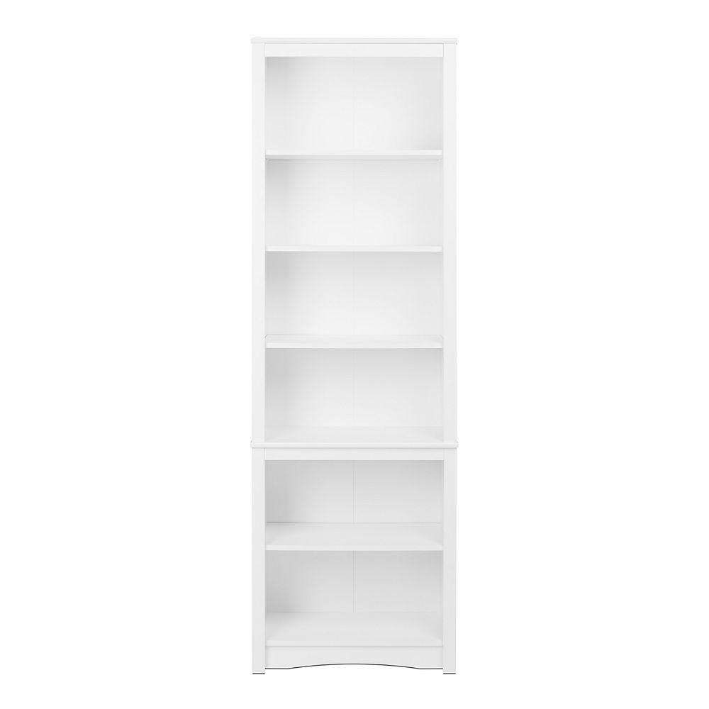 Prepac 80-inch x 26.25-inch x 14.5-inch 6-Shelf Bookcase in White