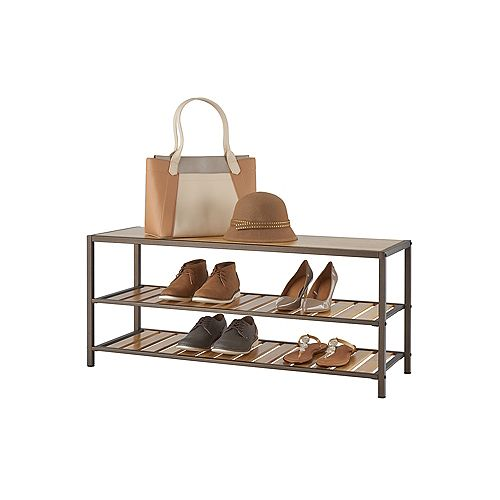 3-Tier  Bamboo Shoe Bench in Bronze Anthracite