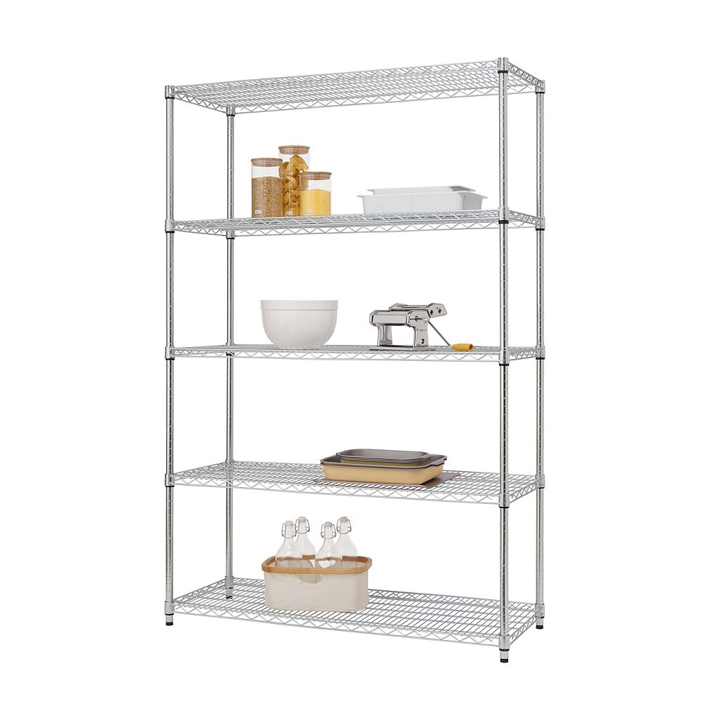 Trinity EcoStorage 48 inch x 18 inch NSF Chrome Color 5-Tier Wire Shelving Rack with Wheels