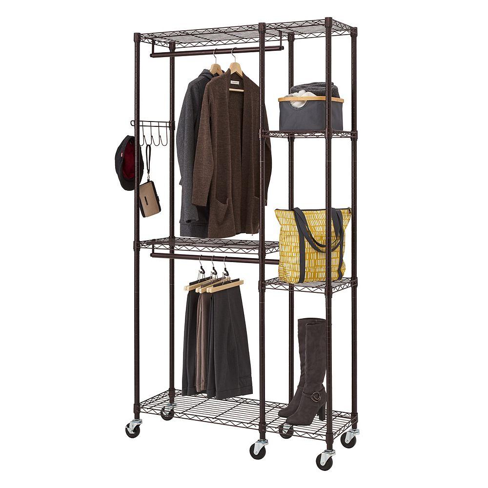 Trinity 14 inch D x 41 inch W x 77.5 inch H Dark Bronze 5-Shelf Steel Closet System Organizer