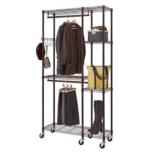 14 inch D x 41 inch W x 77.5 inch H Dark Bronze 5-Shelf Steel Closet System Organizer