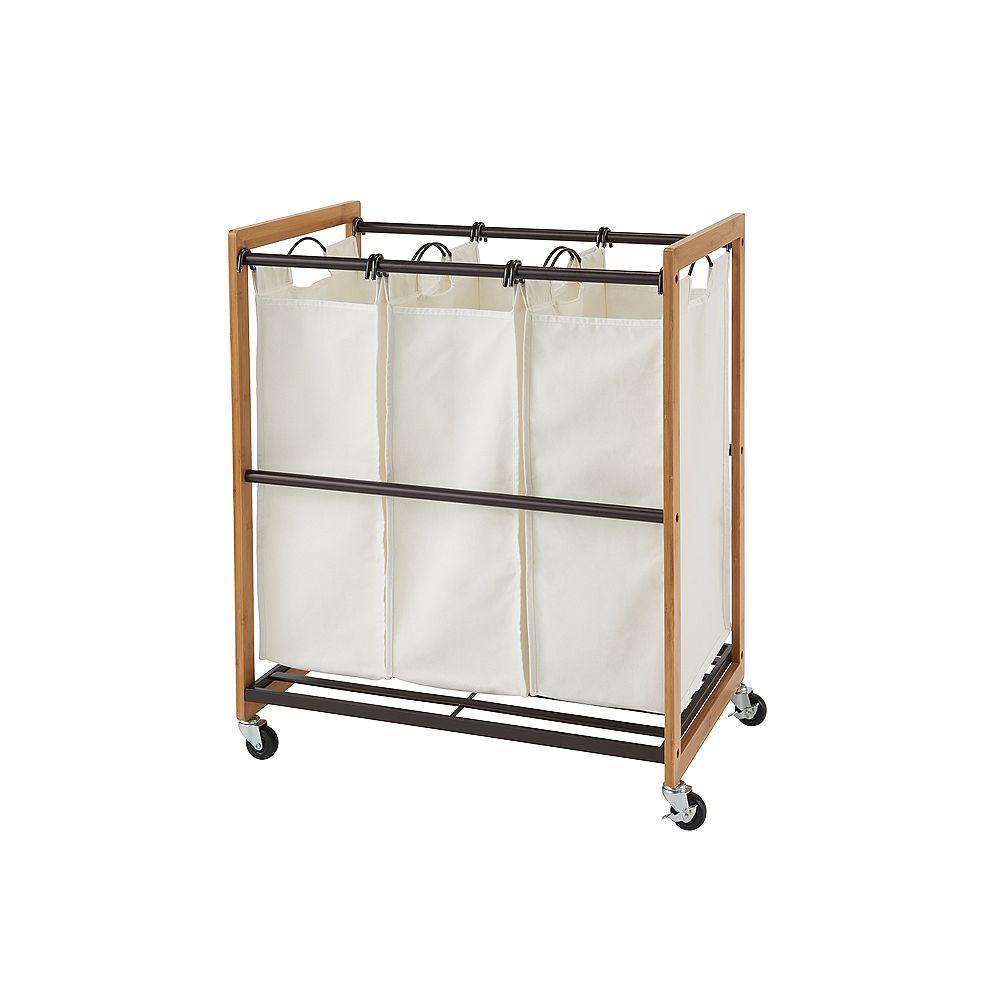 Trinity EcoStorage Wheeled 3-Bag Bamboo Laundry Cart in Bronze