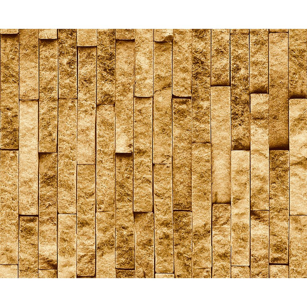 Deco Products Montecarlo Gold Brick Spaccato Peel and Stick 3D Effect Self Adhesive DIY Wallpaper