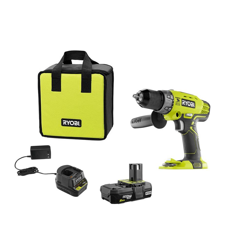 RYOBI ONE+ 18V Cordless 1/2-inch Hammer Drill/Driver Kit with Battery and Charger
