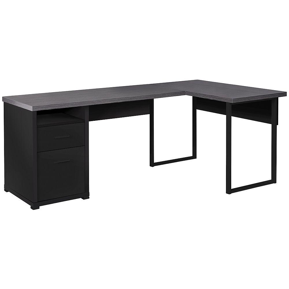 Monarch Specialties Computer Desk - 80 Inch L / Black / Grey Top Left/Right Facing