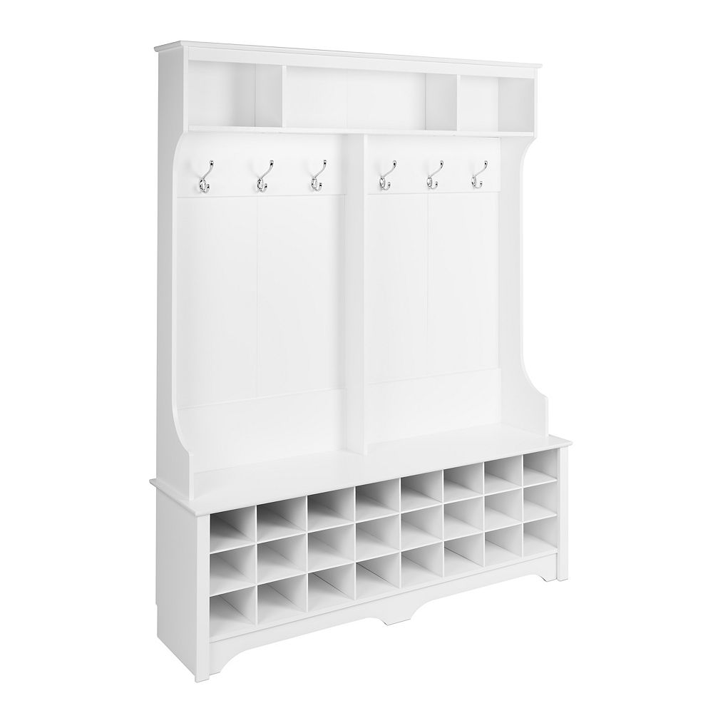 Prepac 60 in Wide Hall Tree with 24 Shoe Cubbies, White