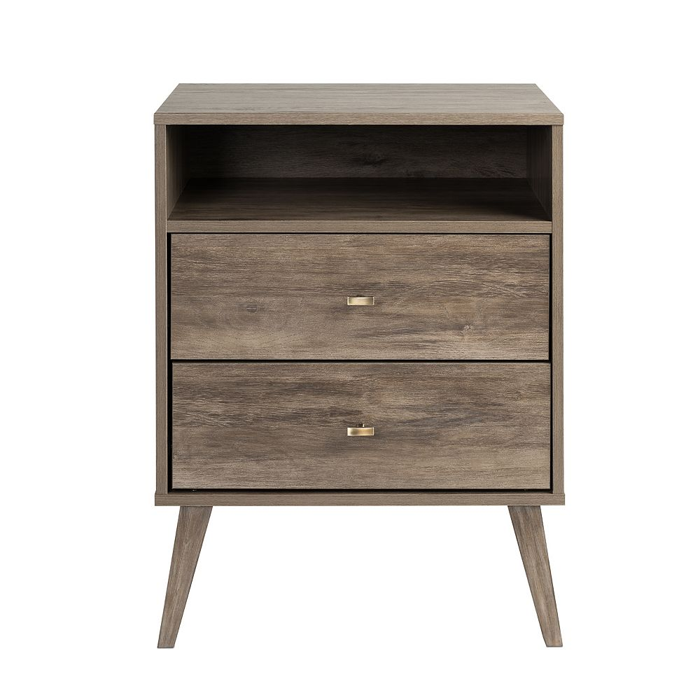 Prepac Milo 2-drawer Tall Nightstand with Open Shelf, Drifted Gray