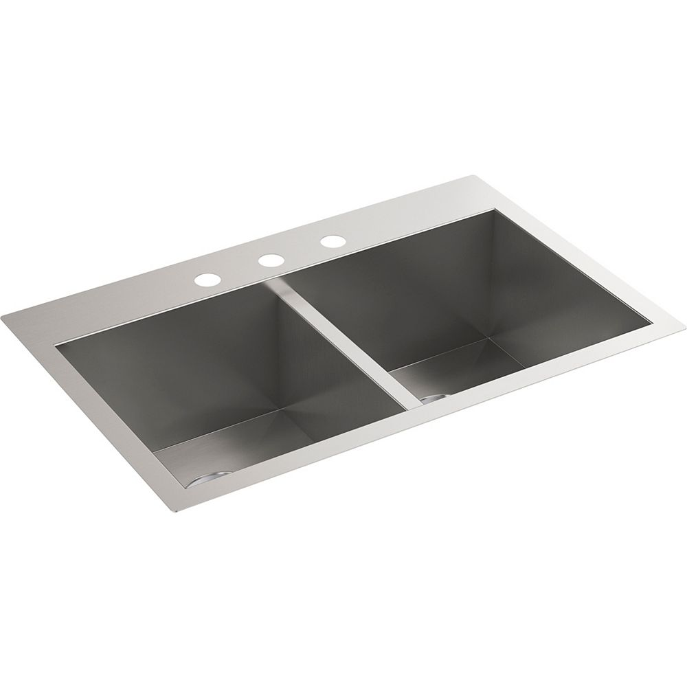 KOHLER 30-1/2 inch x 20 inch top-/under-mount double-equal bowl kitchen sink with 3 faucet holes