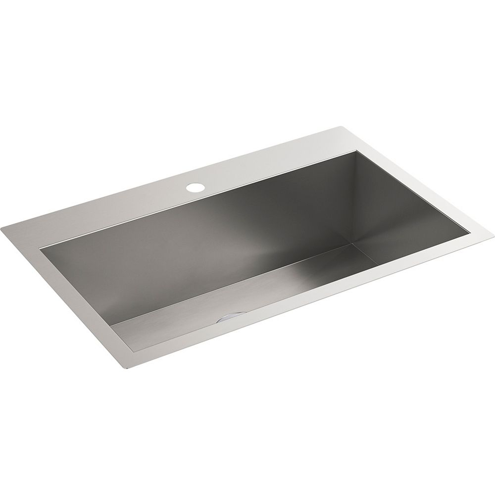 KOHLER 30-1/2 inch x 20 inch top-/under-mount large single-bowl kitchen sink with single faucet hole