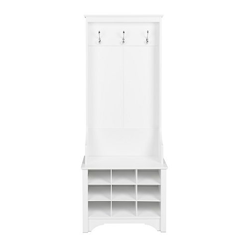 Narrow Hall Tree with 9 Shoe Cubbies, White