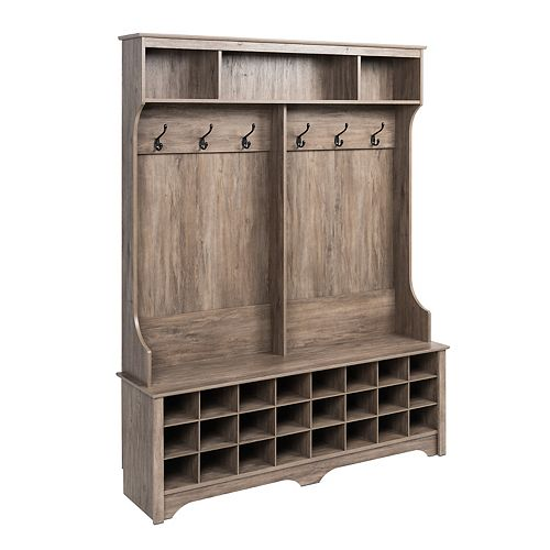 60 in Wide Hall Tree with 24 Shoe Cubbies, Drifted Gray