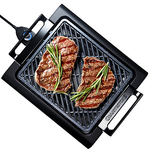 Triple Layer Non-Stick Titanium and Diamond Infused Coating Electric Smoke-less Indoor Grill
