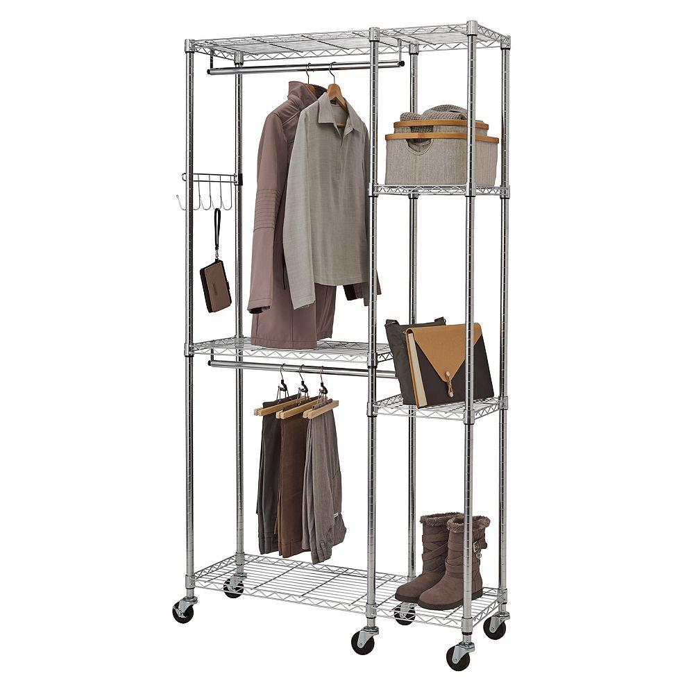 """Trinity EcoStorage Mobile Closet Organizer-41""""W x 14""""D x 77""""H-Chrome"""