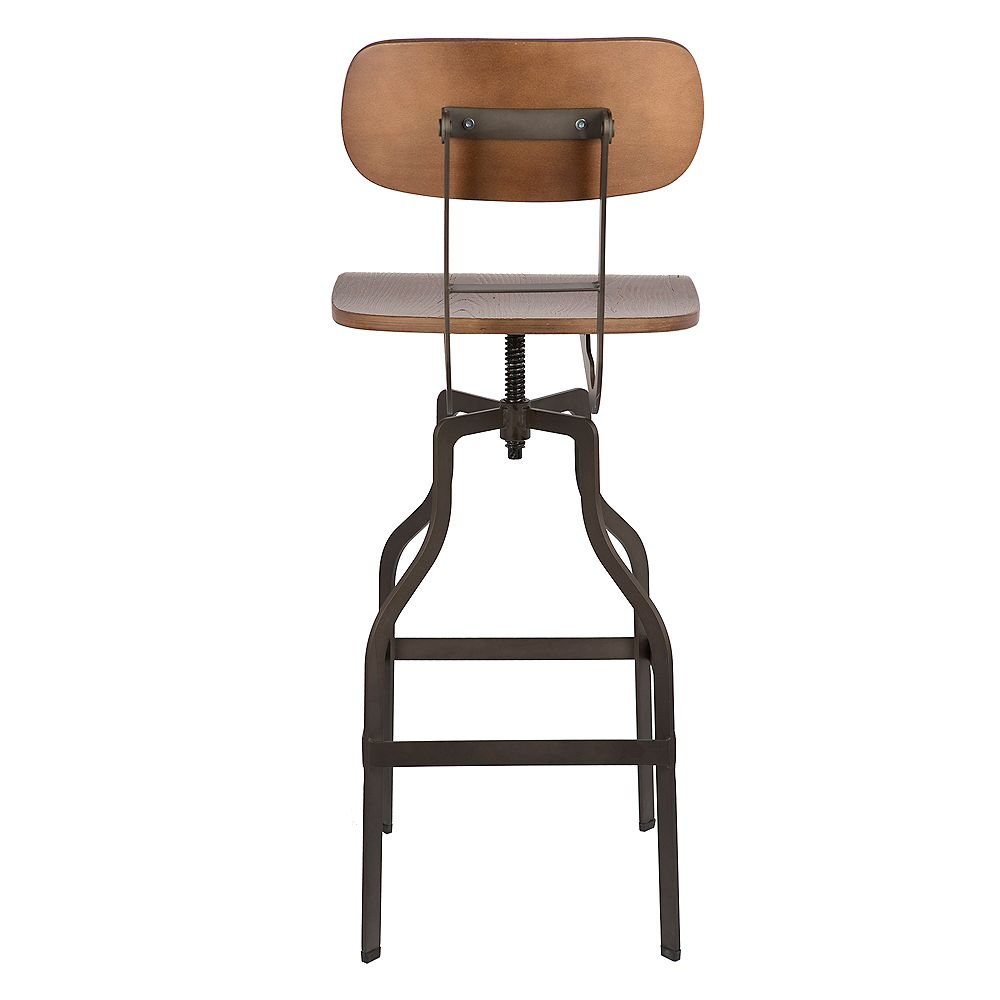 Bronte Living Tabouret de bar pivotant à hauteur réglable avec siège et dossier en bambou - 1 unité