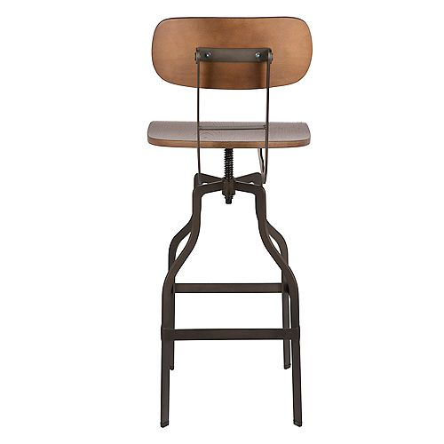 Swivel Adjustable Height Metal Counter and Bar Stool with Bamboo Seat and Mid-Backrest - 1 Unit