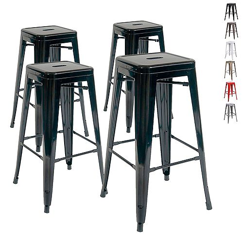 "30"" Bar Height Industrial Tolix Metal Bar Stool, Backless, Glossy Black - Set of 4"