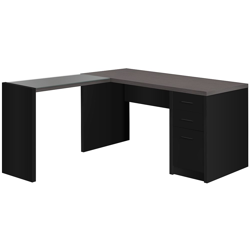 Monarch Specialties Computer Desk - Black / Grey Top Corner W/ Tempered Glass