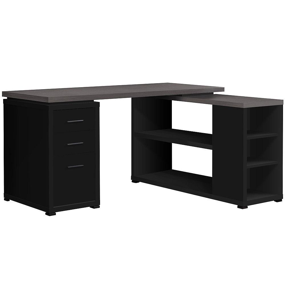 Monarch Specialties Computer Desk - Black / Grey Top Left/Right Facing Corner